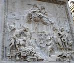 Basso relief panel commerating the Fire of London and Charles II's intervention. Indent repairs to Statuary by Cauis Gabriel Cibber, 1668.