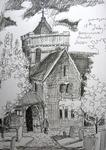 Boxgrove Parish Church, Sussex: Sketch for postcards