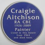 Blue plaque designed and made in ceramic, for the Artists formar home and studio in Kennington.